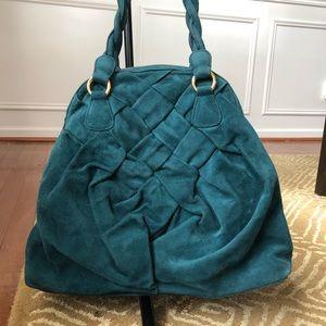 Valentino Garavni Emerald Green Suede Braided Bag